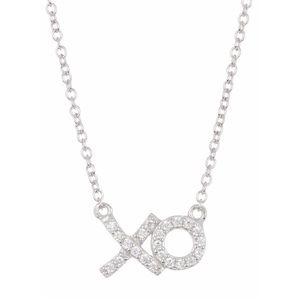 Dainty XO Hugs & Kisses .925 Silver Pave Necklace